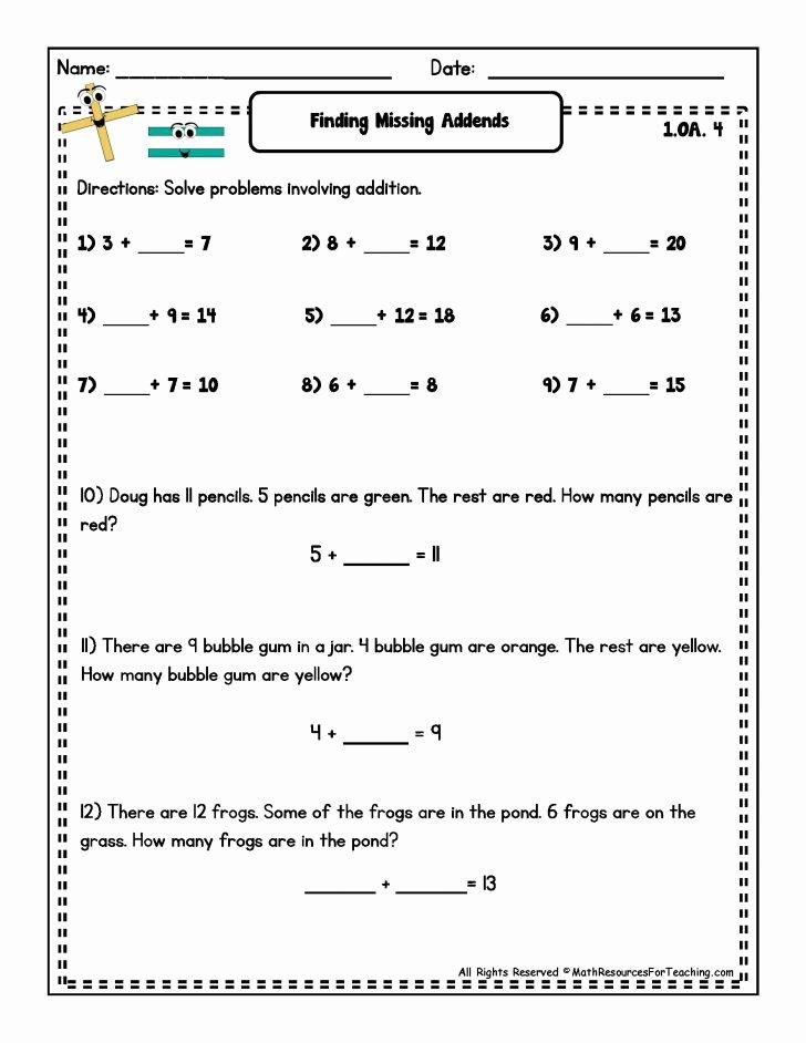 Missing Addends Worksheets 1st Grade Worksheet Ideas Best Missing Addends Worksheets