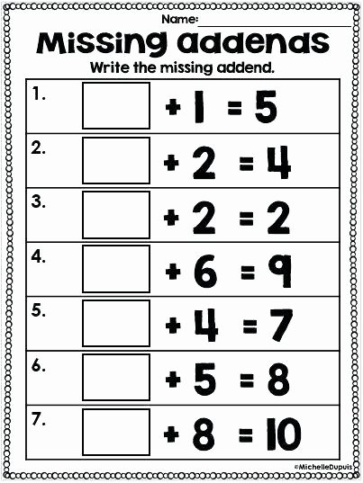 Missing Addends Worksheets First Grade Awesome Find the Missing Addend Education Math Kindergarten