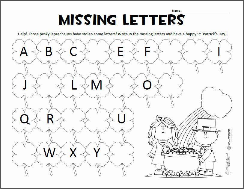 Missing Letters Worksheet for Kindergarten Preschool Alphabet Worksheets Pdf