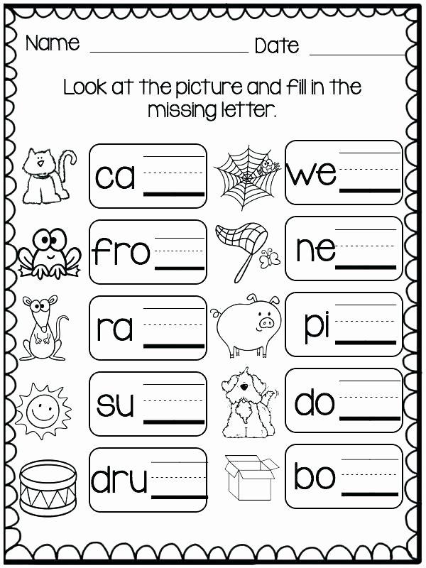 Missing Letters Worksheets for Kindergarten Three Letter Words Worksheets Free
