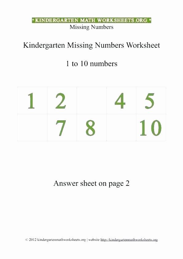 Missing Number Worksheet for Kindergarten Maths Number Worksheets