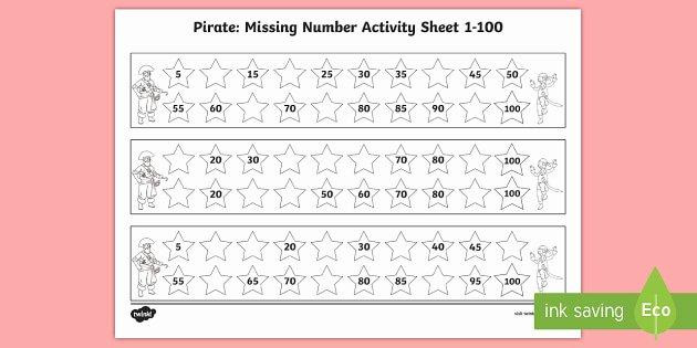 Missing Number Worksheet for Kindergarten Pirate Missing Number 1 100 Worksheet Worksheets Pirate