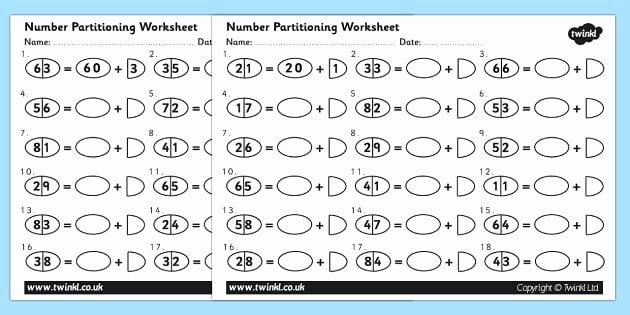 Missing Number Worksheet for Kindergarten Tens and Es Number Separation Worksheet