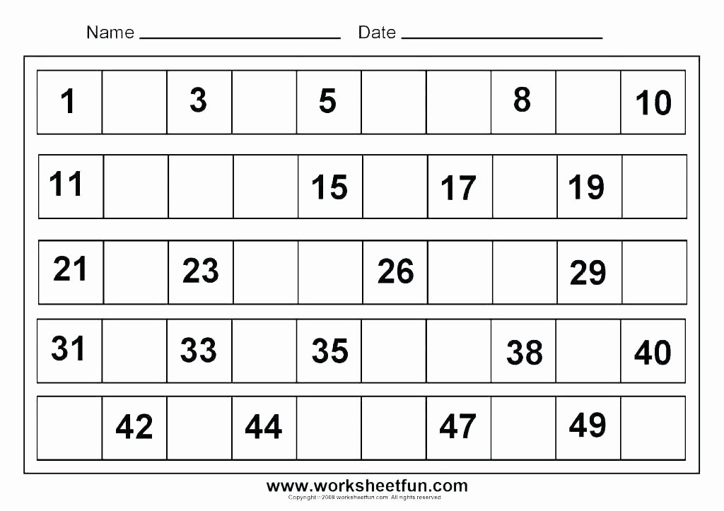 Missing Number Worksheet Kindergarten Free Number Worksheets 1 10