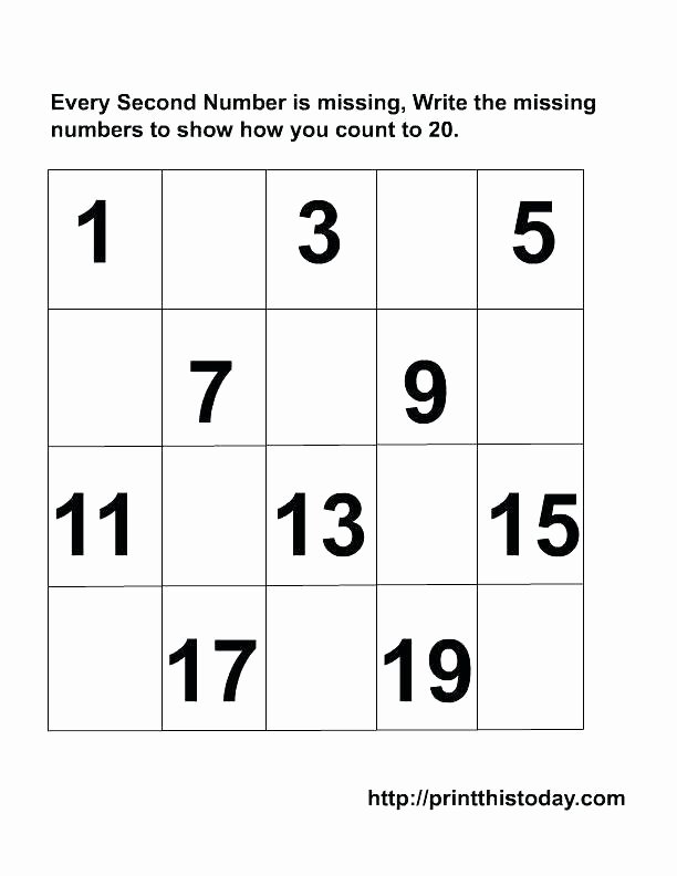 Missing Number Worksheets 1 20 Counting to 20 Worksheets