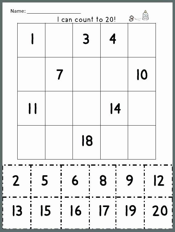 Missing Number Worksheets 1 20 Counting Worksheets for Kindergarten Printable Writing