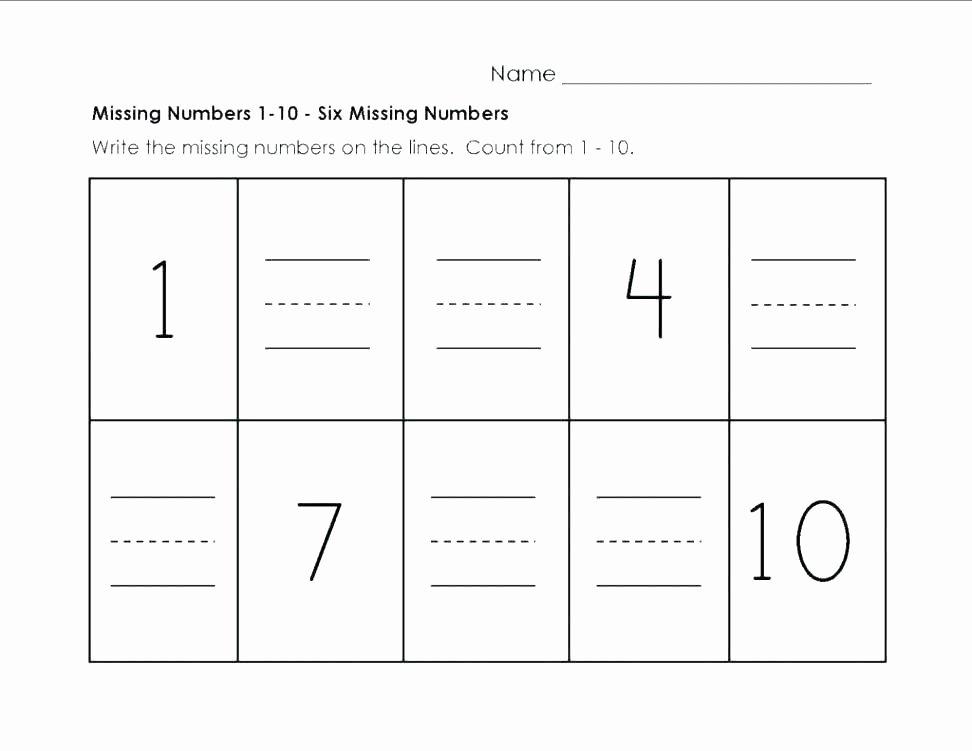 Missing Number Worksheets 1 20 Number 1 Worksheets for Preschool