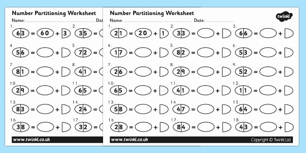 Missing Number Worksheets 1 20 Tens and Es Number Separation Worksheet
