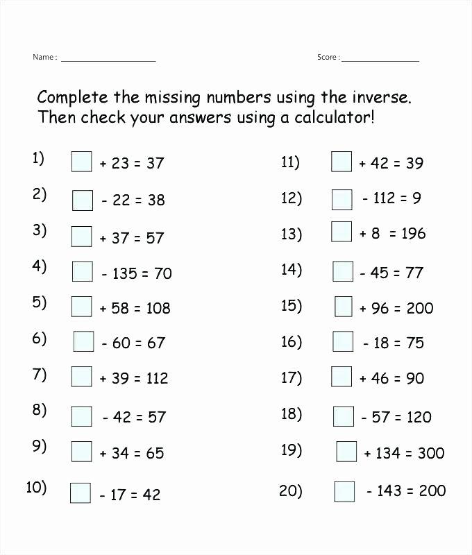 Missing Number Worksheets 2nd Grade Best Of Inverse Missing Numbers Worksheet Template Chart Interesting