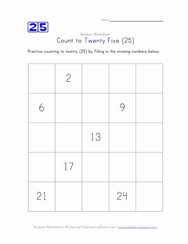 Missing Number Worksheets Kindergarten Count to 25
