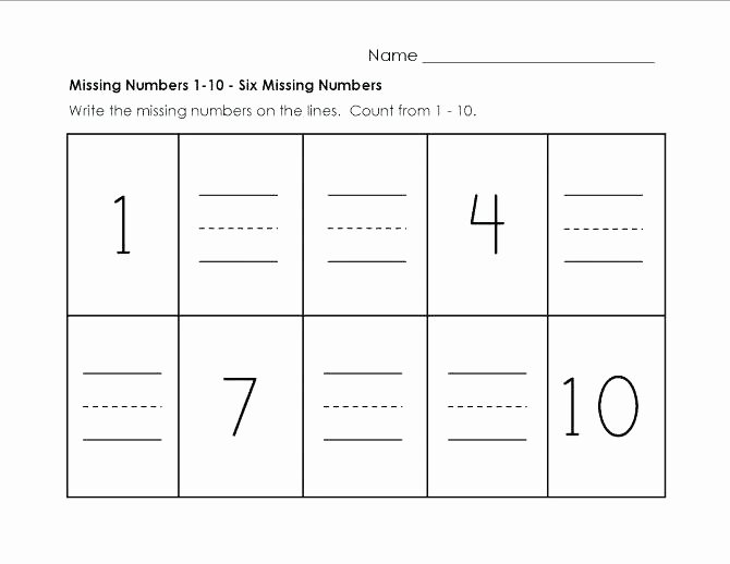 Missing Numbers Addition Worksheets Fresh 1 10 Math Worksheets