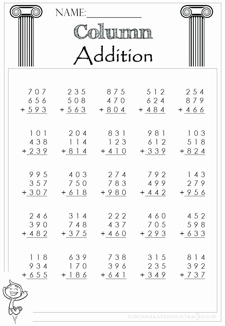 Missing Numbers Addition Worksheets Lovely Three Digit Column Addition 3 Addends Worksheet Relaxation