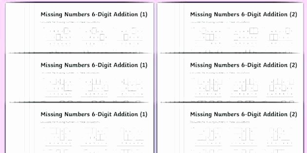Missing Numbers Addition Worksheets Luxury Grade 5 Missing Number Multiplication and Division Worksheet