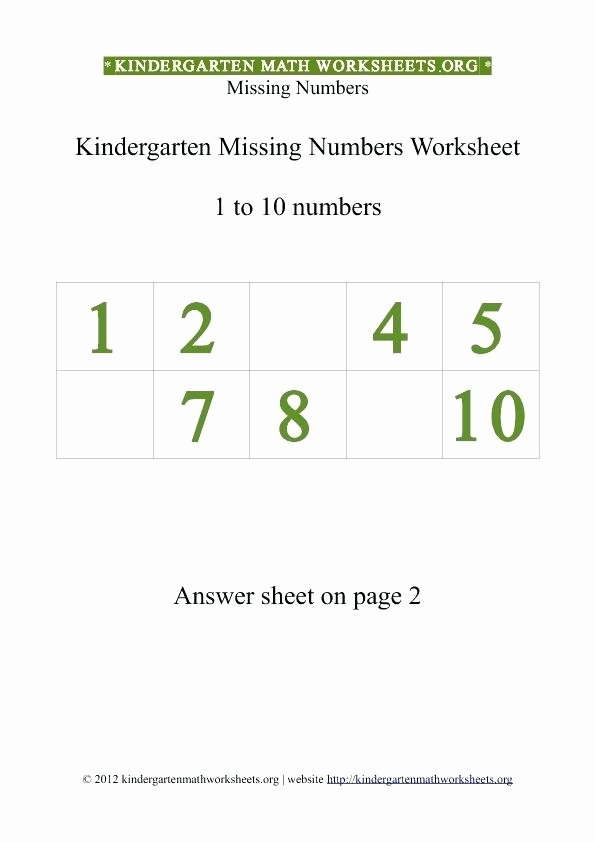 Missing Numbers In Equations Worksheet Kindergarten 1 to Missing Numbers Worksheet 0 Math Worksheets 10