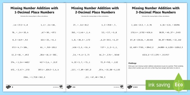 Missing Numbers In Equations Worksheets Elegant Missing Number Addition with Decimals Worksheet Missing