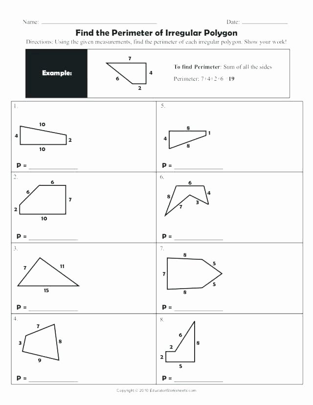 Missing Side Perimeter Worksheet area Perimeter Worksheets and Lesson Plan Sample with