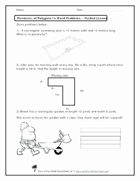 Missing Side Perimeter Worksheet Collection Grade Math Worksheets area and Perimeter