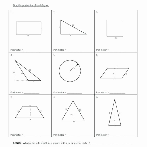 Missing Side Perimeter Worksheet Finding Perimeter Worksheets area Grade Printable Worksheet
