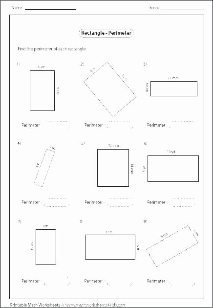 Missing Side Perimeter Worksheet Finding Perimeter Worksheets Grade Math Irregular Shapes