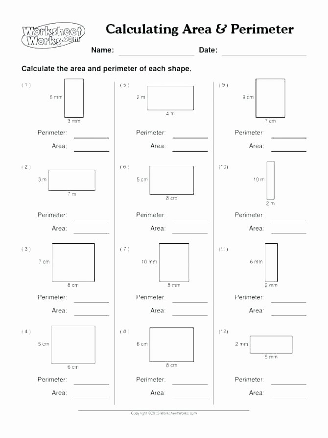 Missing Side Perimeter Worksheet Third Grade area and Perimeter Worksheets Maths Medium to