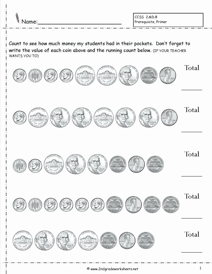 Money Worksheets for 3rd Grade Counting Money Worksheets 3rd Grade