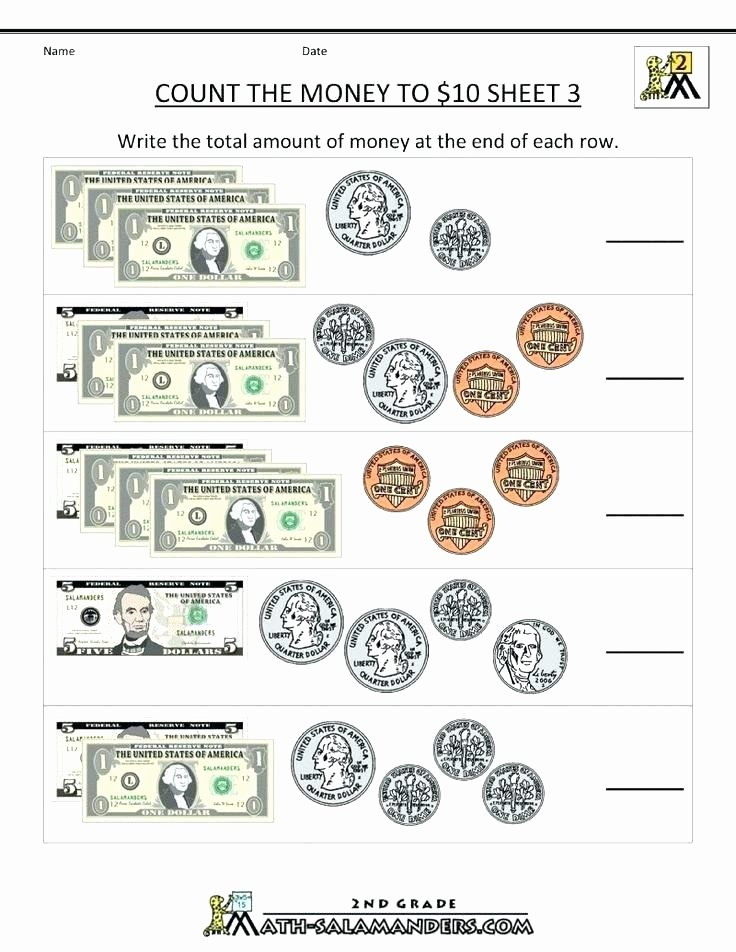 Money Worksheets for 3rd Grade Easy Money Worksheets Printable First Grade Counting