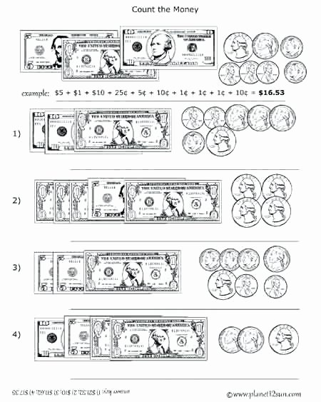 Money Worksheets for 3rd Grade Free Printable Black White Worksheet Adding Coins and Bills