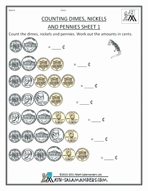 Money Worksheets for Second Grade Printable Money Worksheets 2nd Grade Math with for Second
