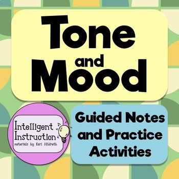 Mood and tone Practice Worksheets tone and Mood Notes Worksheets & Teaching Resources