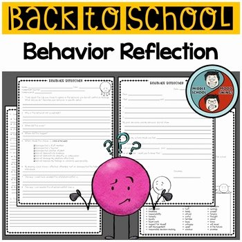 Mood Worksheets for Middle School New Behavior Reflection