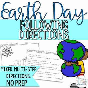 Multi Step Directions Worksheets Elegant Earth Day Following Directions Coloring Pack Mixed Directions Speech therapy