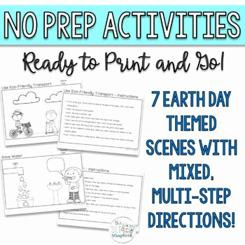 Multi Step Directions Worksheets Inspirational Earth Day Following Directions Coloring Pack Mixed Directions Speech therapy
