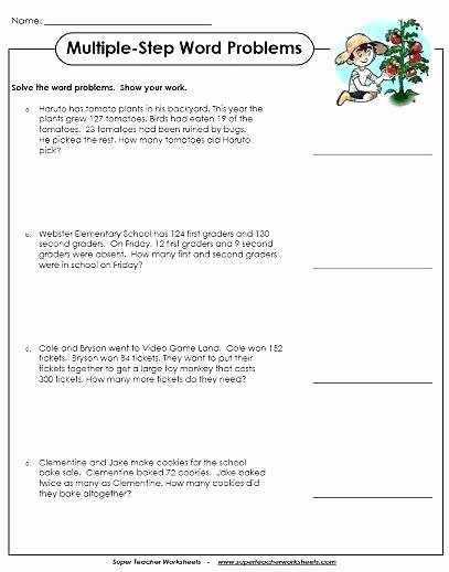 Multi Step Word Problems Worksheets Second Grade Addition Word Problems Worksheets