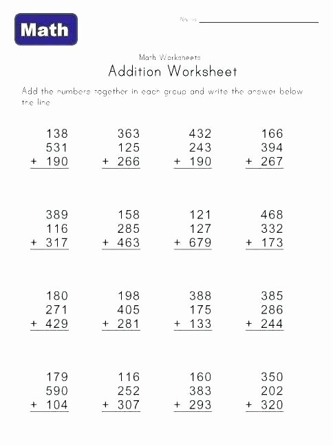 Multiple Digit Addition Unique 4 Digit Addition Worksheet Adding 3 Addends 5 without