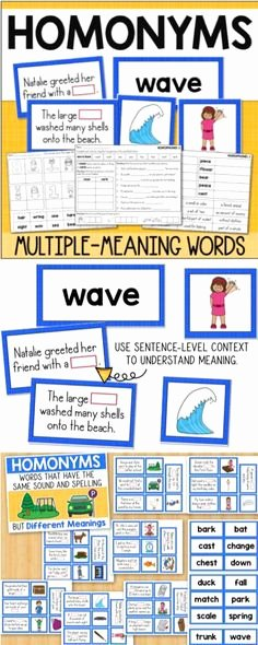 Multiple Meaning Worksheets 9 Best Homonyms Activities Images In 2017