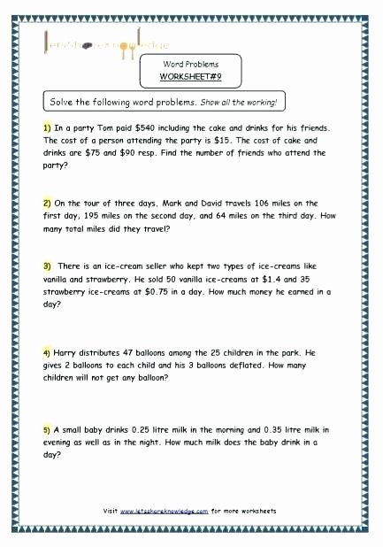 Multiple Step Word Problem Worksheets Two Step Math Word Problems Worksheets