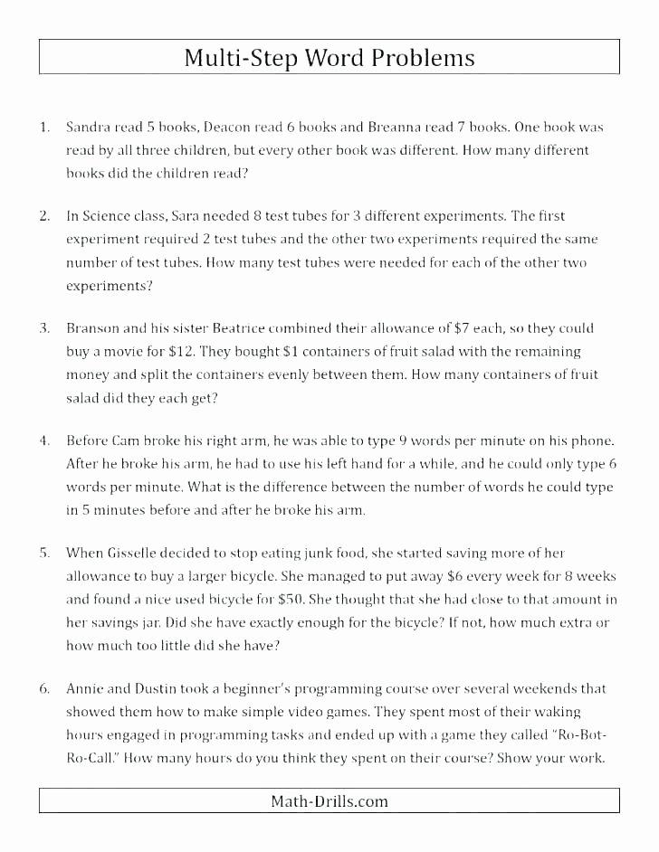Multiple Step Word Problem Worksheets Word Problem Worksheets for 5th Grade – Akasharyans