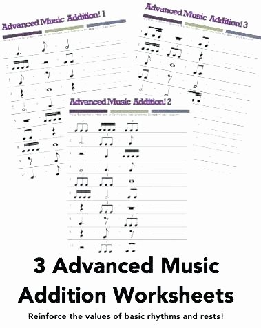 Music Counting Worksheets Music Math 3 Advanced Addition Worksheets Dotted Quarter