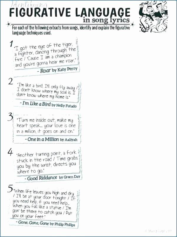 Non Literal Language Worksheets Figurative Language Worksheets 5th Grade