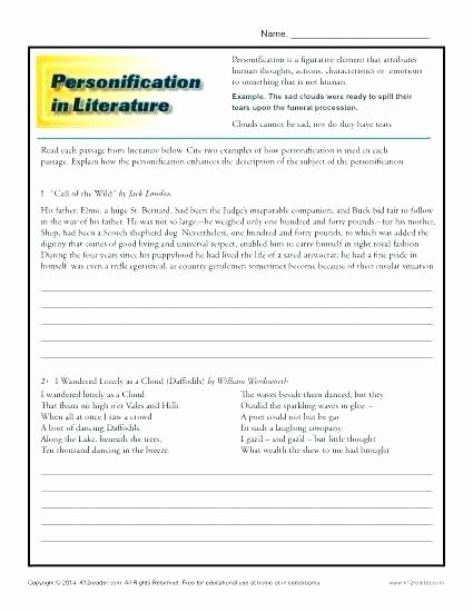 Non Literal Language Worksheets Literal and Language Worksheets Reading Grade 2 Activities