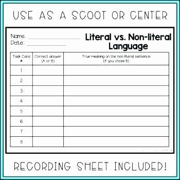 Non Literal Language Worksheets Nonliteral Language Worksheets