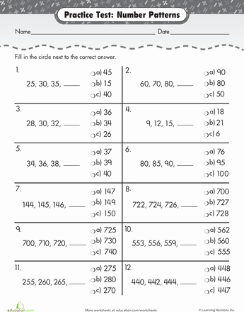 Number Pattern Worksheets 5th Grade Pin On Math