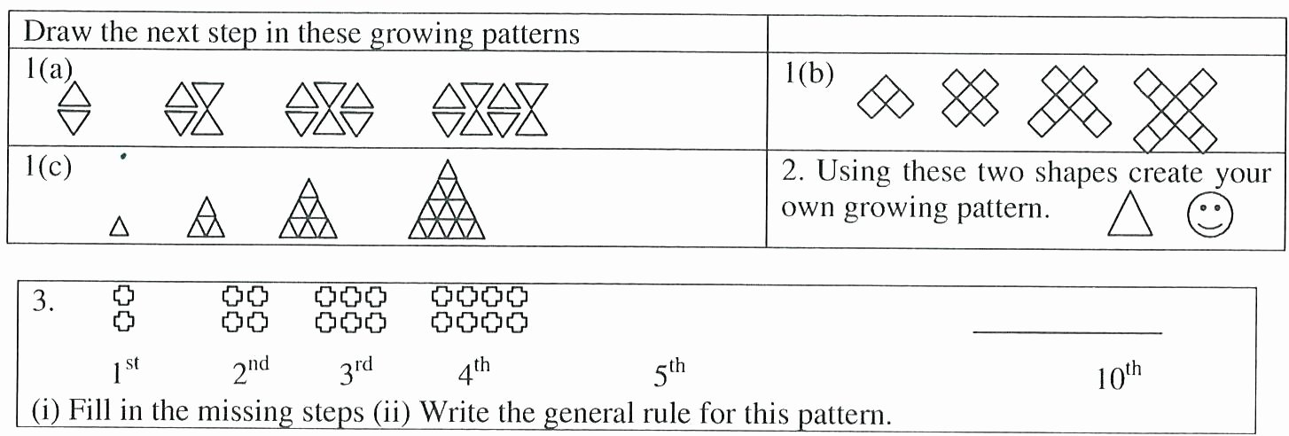 Number Patterns Worksheets Grade 6 Patterns 1st Grade Growing Patterns Worksheets for All