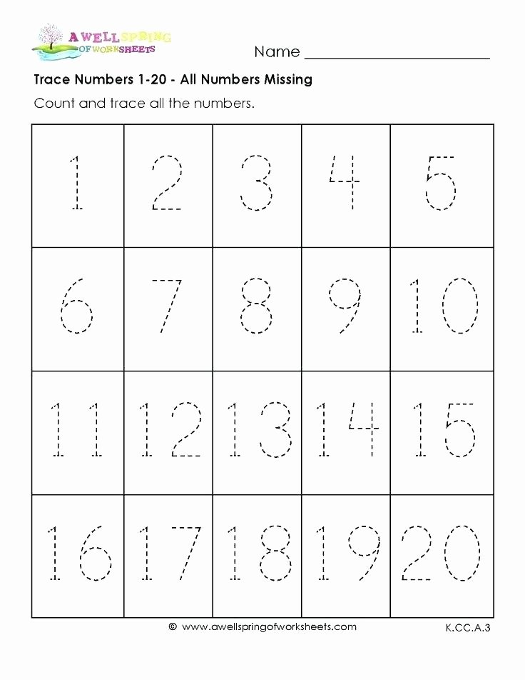 Number Recognition Worksheets 1 20 Printable Number Tracing Worksheets for Kindergarten Trace