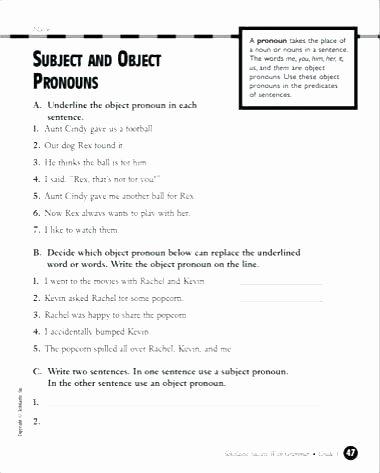 Number Sentence Worksheets 2nd Grade Pronoun Worksheets Subject and Object Pronouns Grade for All