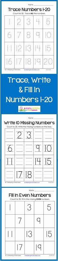 Number Tracing 1 20 47 Best Number Worksheets Images In 2019