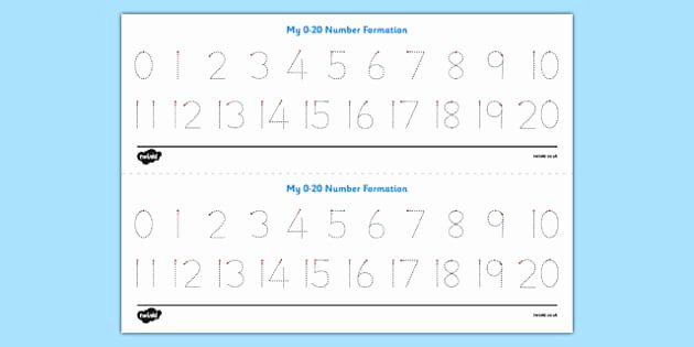 Number Tracing 1 20 Free Number formation Tracing Activity