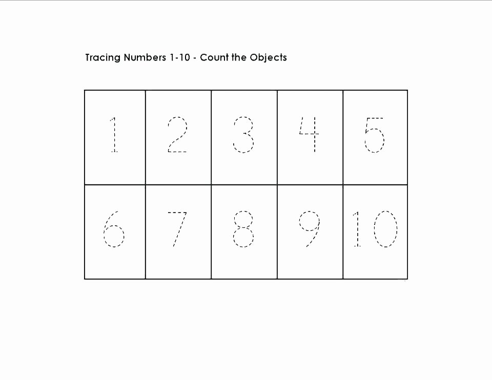 Number Tracing Worksheet 1 10 I Worksheets for Kindergarten