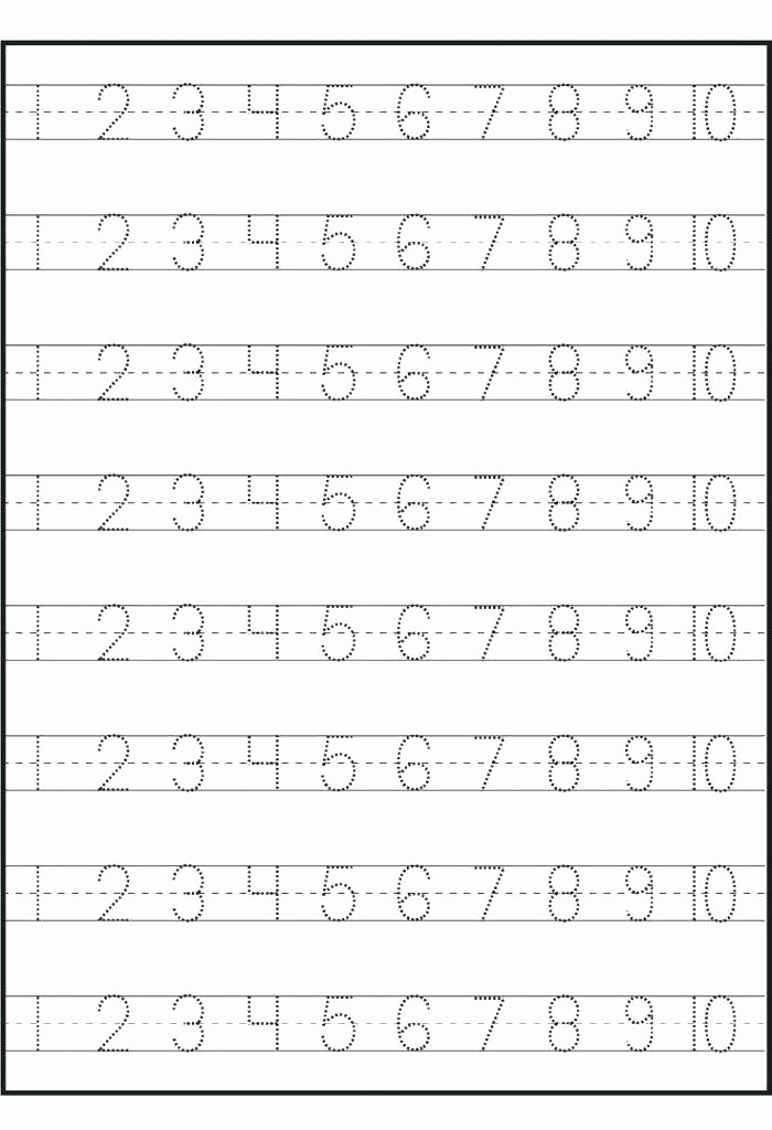 Number Tracing Worksheet 1 10 Number Tracing Worksheets for Kindergarten An Printable