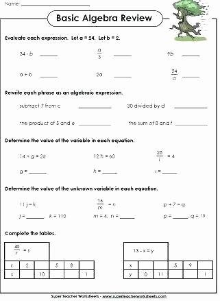 Numerical Expressions Worksheets 6th Grade Fresh 6th Grade Algebraic Expressions Worksheets